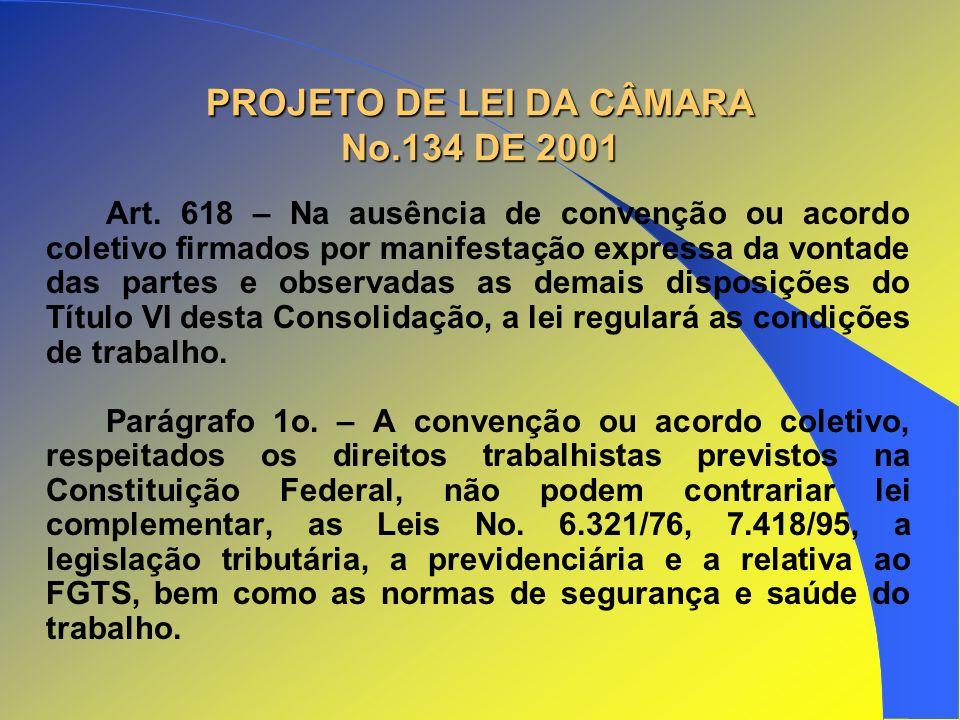 PROJETO DE LEI DA CÂMARA No.134 DE 2001