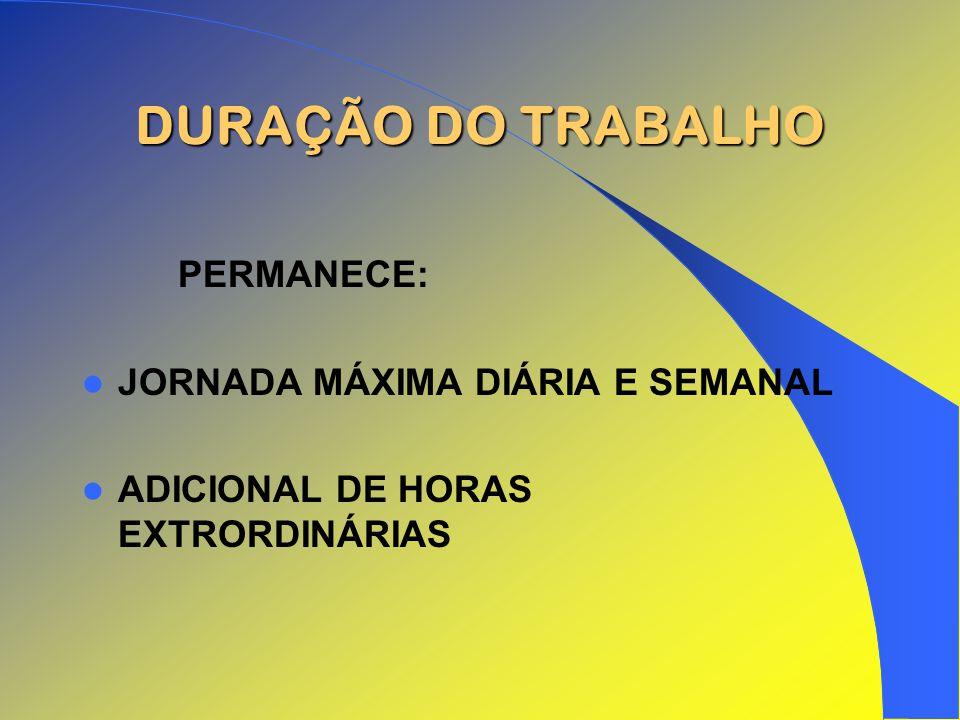 DURAÇÃO DO TRABALHO PERMANECE: JORNADA MÁXIMA DIÁRIA E SEMANAL