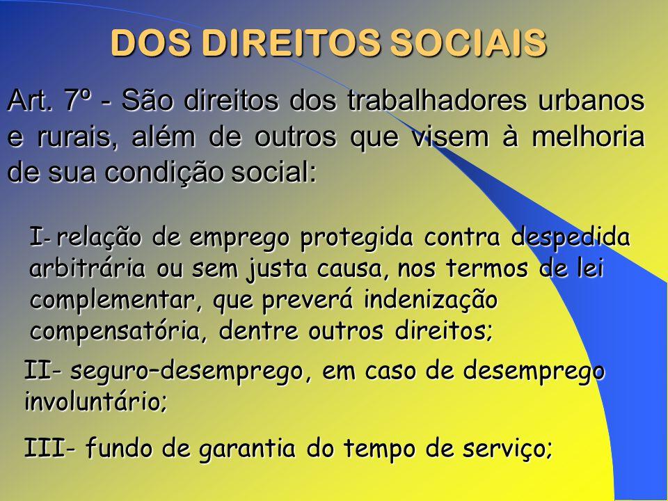 DOS DIREITOS SOCIAIS Art. 7º - São direitos dos trabalhadores urbanos e rurais, além de outros que visem à melhoria de sua condição social: