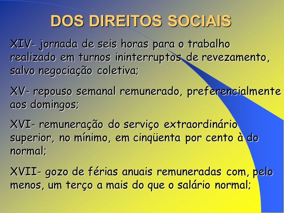 DOS DIREITOS SOCIAIS XIV- jornada de seis horas para o trabalho realizado em turnos ininterruptos de revezamento, salvo negociação coletiva;