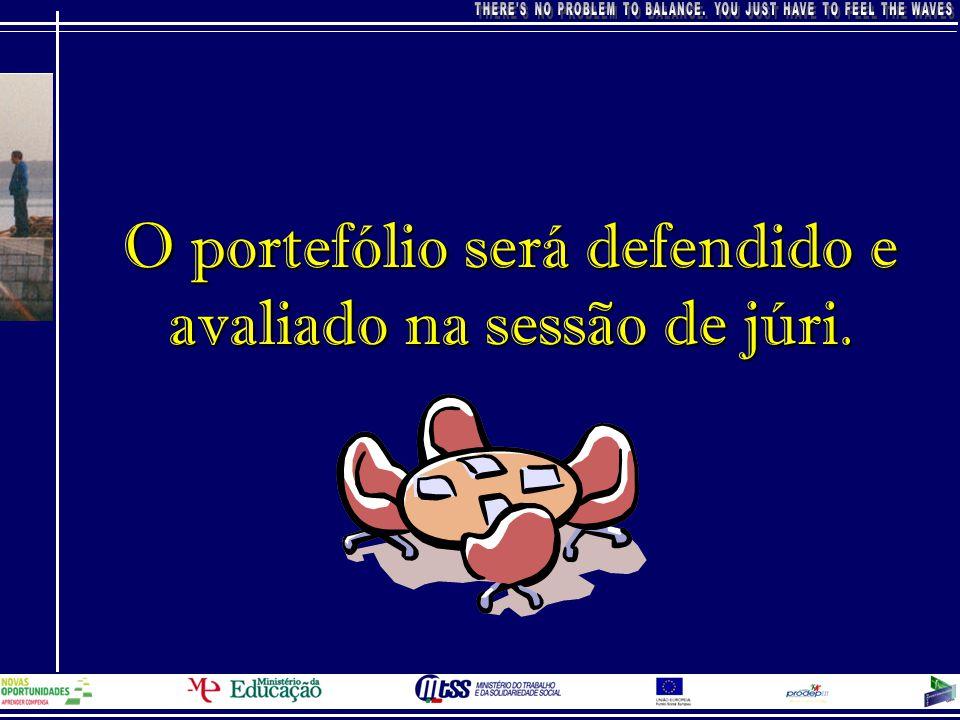 O portefólio será defendido e avaliado na sessão de júri.