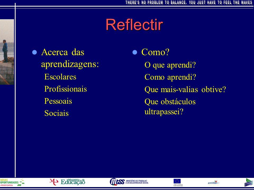 Reflectir Acerca das aprendizagens: Como O que aprendi Escolares