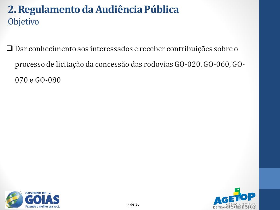 2. Regulamento da Audiência Pública Objetivo