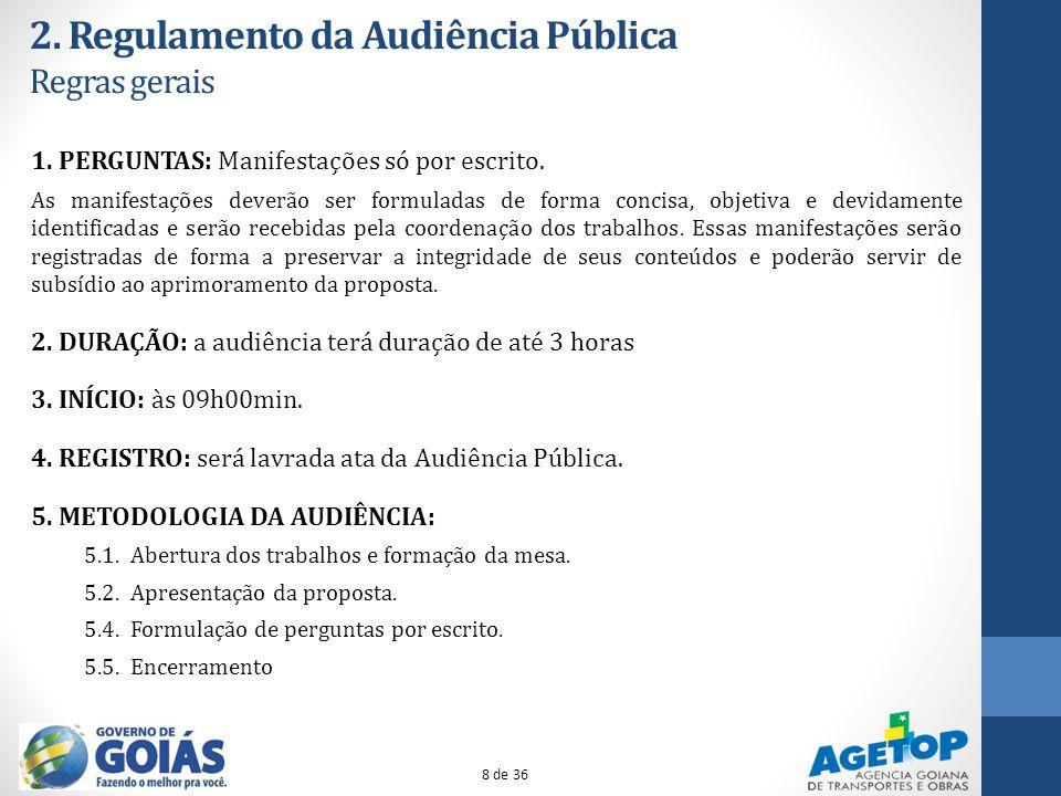 2. Regulamento da Audiência Pública Regras gerais
