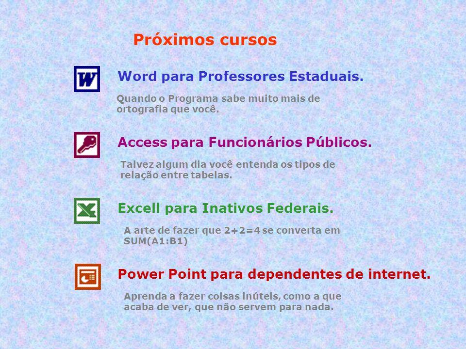 Próximos cursos Word para Professores Estaduais.