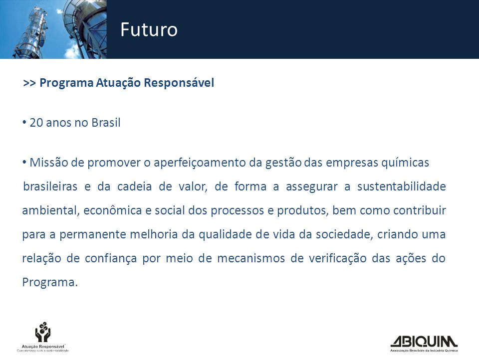 Futuro >> Programa Atuação Responsável 20 anos no Brasil