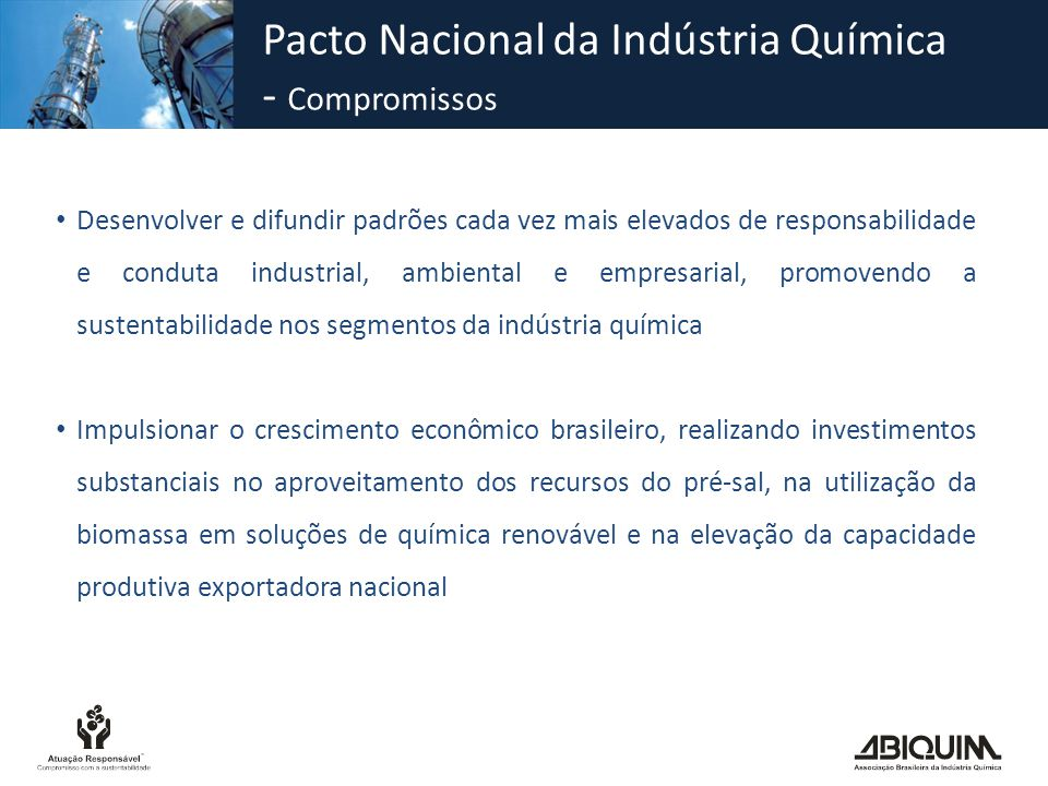 Pacto Nacional da Indústria Química - Compromissos