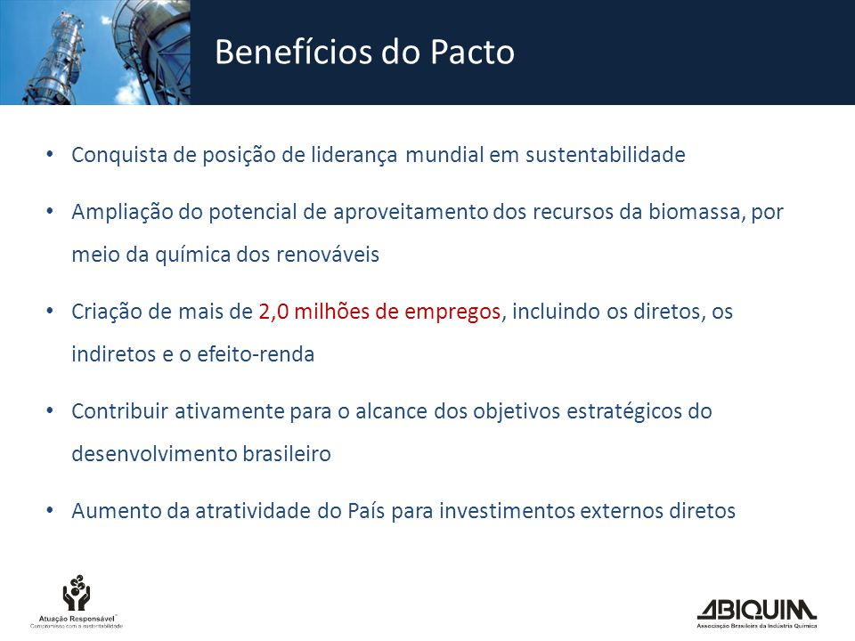 Benefícios do Pacto Conquista de posição de liderança mundial em sustentabilidade.