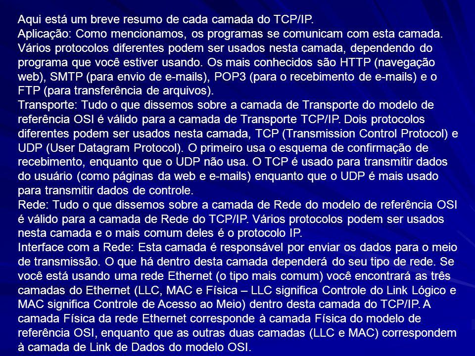 Aqui está um breve resumo de cada camada do TCP/IP.