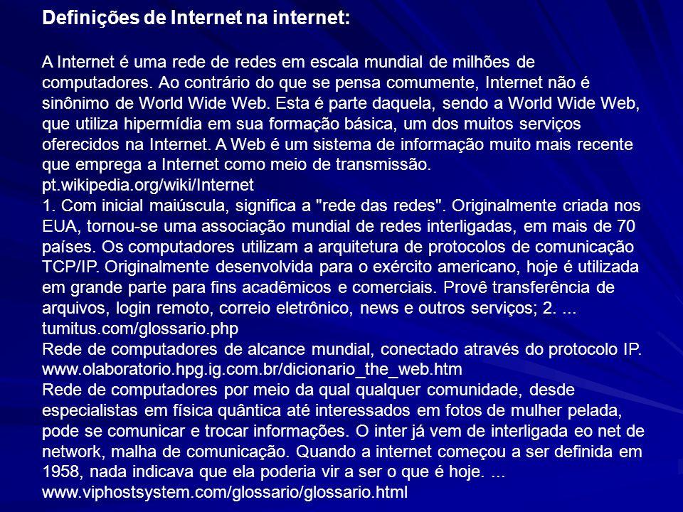 Definições de Internet na internet: