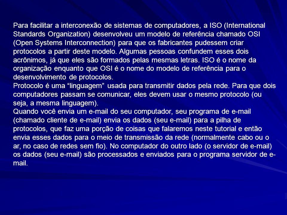 Para facilitar a interconexão de sistemas de computadores, a ISO (International Standards Organization) desenvolveu um modelo de referência chamado OSI (Open Systems Interconnection) para que os fabricantes pudessem criar protocolos a partir deste modelo. Algumas pessoas confundem esses dois acrônimos, já que eles são formados pelas mesmas letras. ISO é o nome da organização enquanto que OSI é o nome do modelo de referência para o desenvolvimento de protocolos.