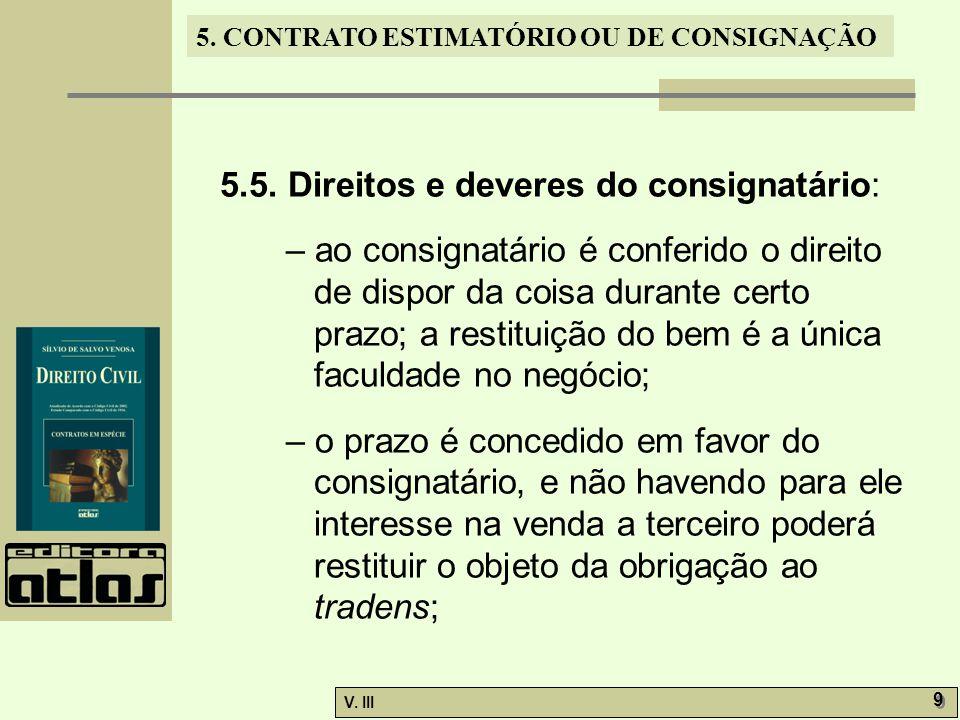 5.5. Direitos e deveres do consignatário: