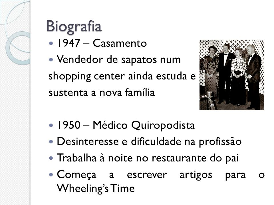 Biografia 1947 – Casamento Vendedor de sapatos num