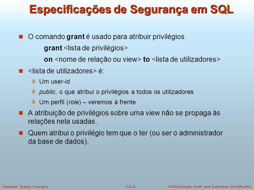 Especificações de Segurança em SQL