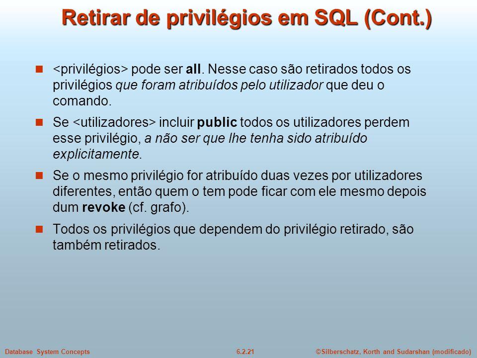 Retirar de privilégios em SQL (Cont.)