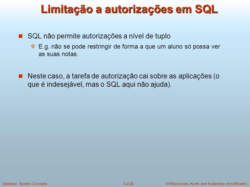 Limitação a autorizações em SQL