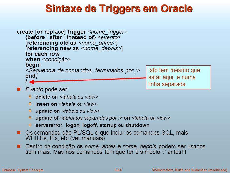 Sintaxe de Triggers em Oracle