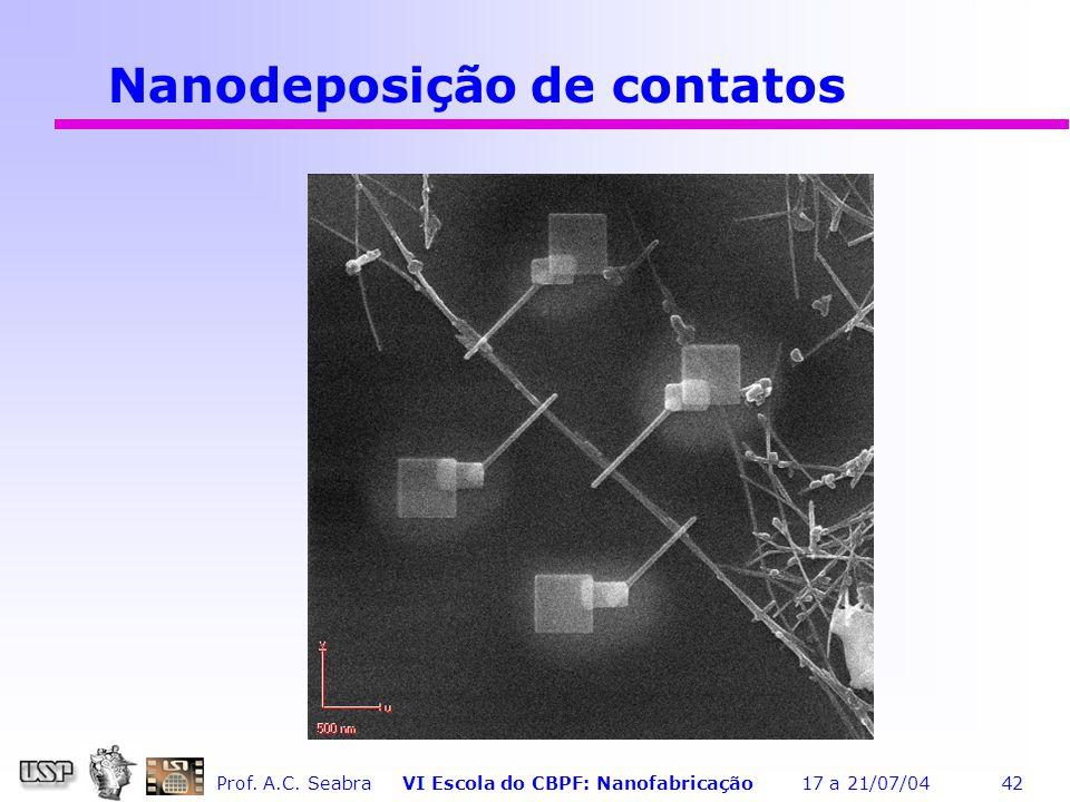 Nanodeposição de contatos