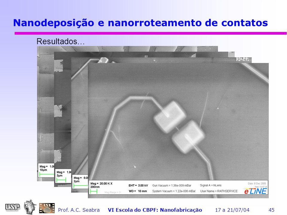 Nanodeposição e nanorroteamento de contatos
