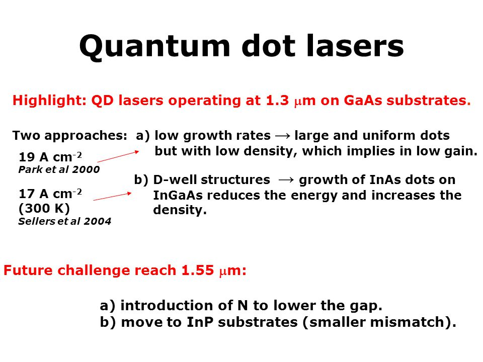 Quantum dot lasers a) introduction of N to lower the gap.
