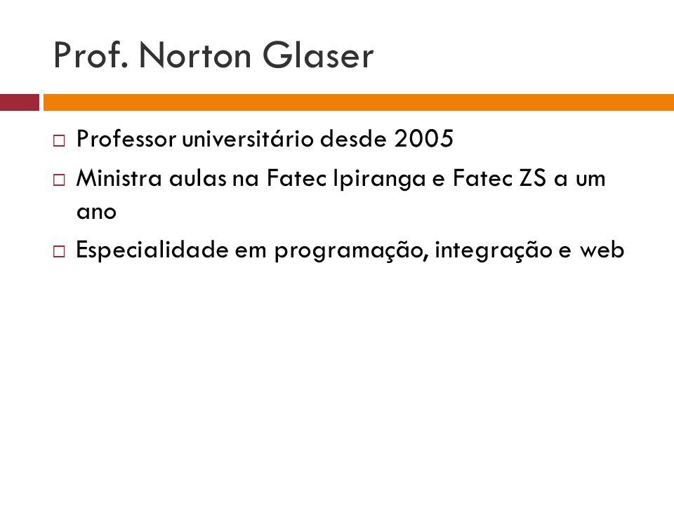 Prof. Norton Glaser Professor universitário desde 2005