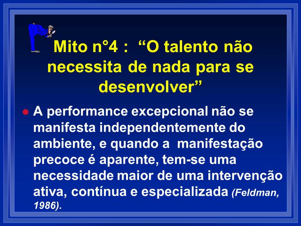 Mito n°4 : O talento não necessita de nada para se desenvolver