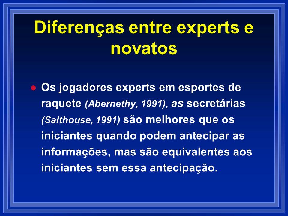 Diferenças entre experts e novatos
