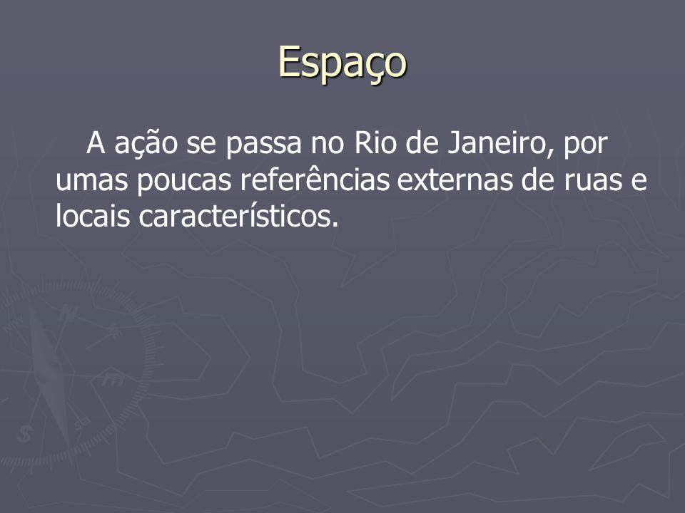Espaço A ação se passa no Rio de Janeiro, por umas poucas referências externas de ruas e locais característicos.