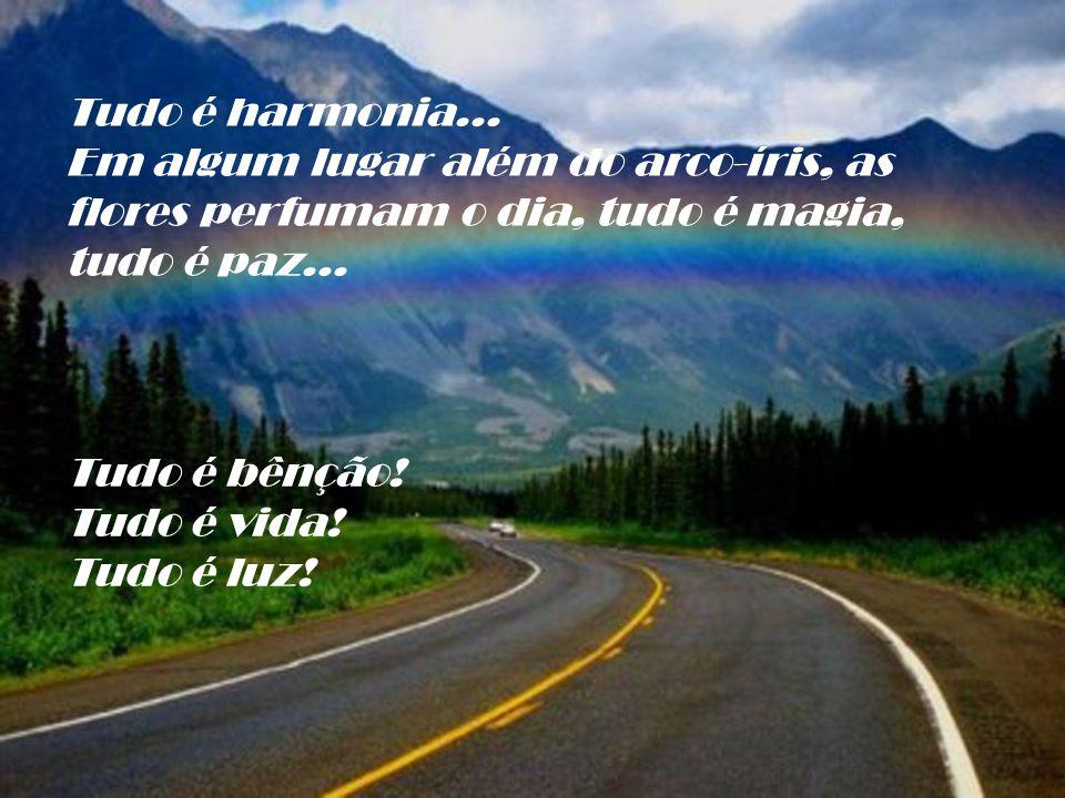 Tudo é harmonia... Em algum lugar além do arco-íris, as flores perfumam o dia, tudo é magia, tudo é paz...