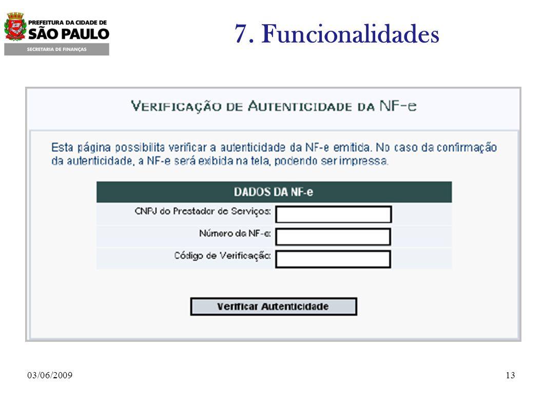 7. Funcionalidades 03/06/2009