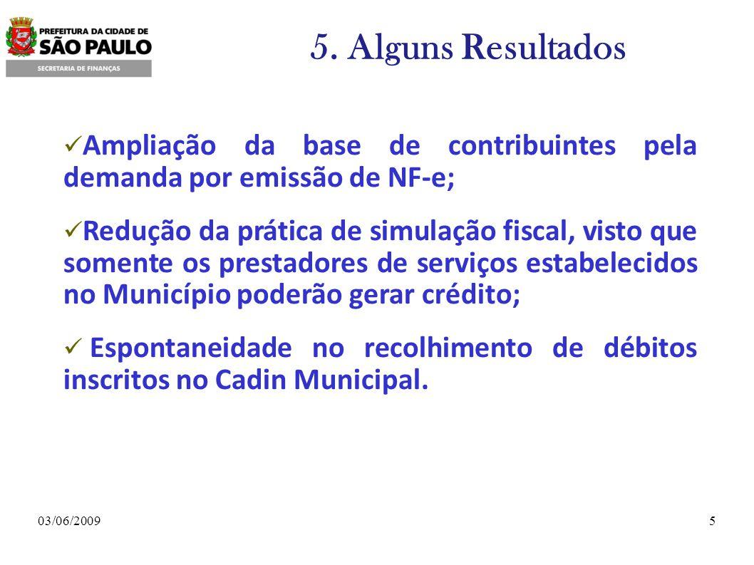 5. Alguns Resultados Ampliação da base de contribuintes pela demanda por emissão de NF-e;