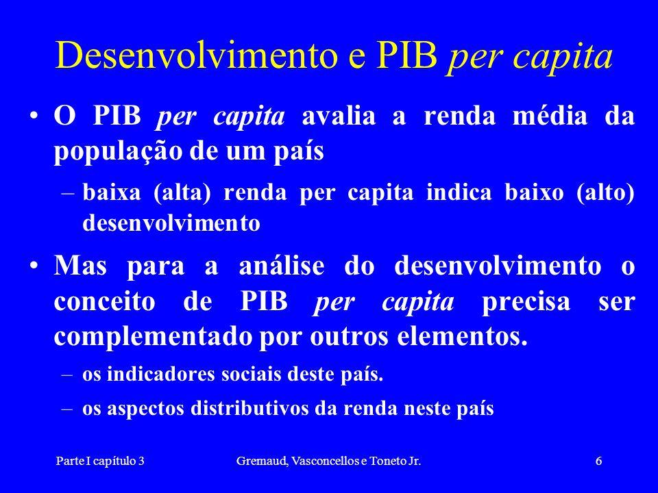 Desenvolvimento e PIB per capita
