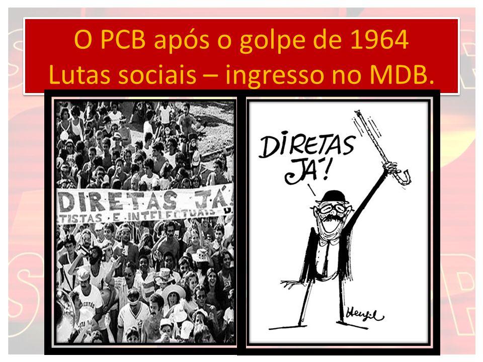 O PCB após o golpe de 1964 Lutas sociais – ingresso no MDB.
