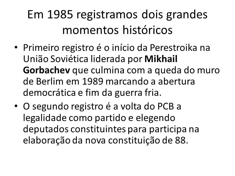 Em 1985 registramos dois grandes momentos históricos
