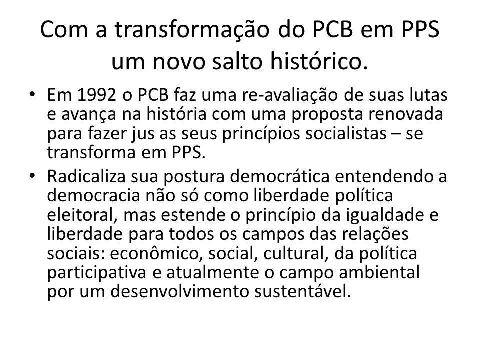 Com a transformação do PCB em PPS um novo salto histórico.