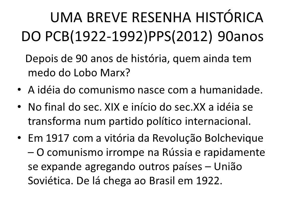 UMA BREVE RESENHA HISTÓRICA DO PCB(1922-1992)PPS(2012) 90anos