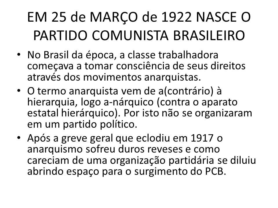EM 25 de MARÇO de 1922 NASCE O PARTIDO COMUNISTA BRASILEIRO