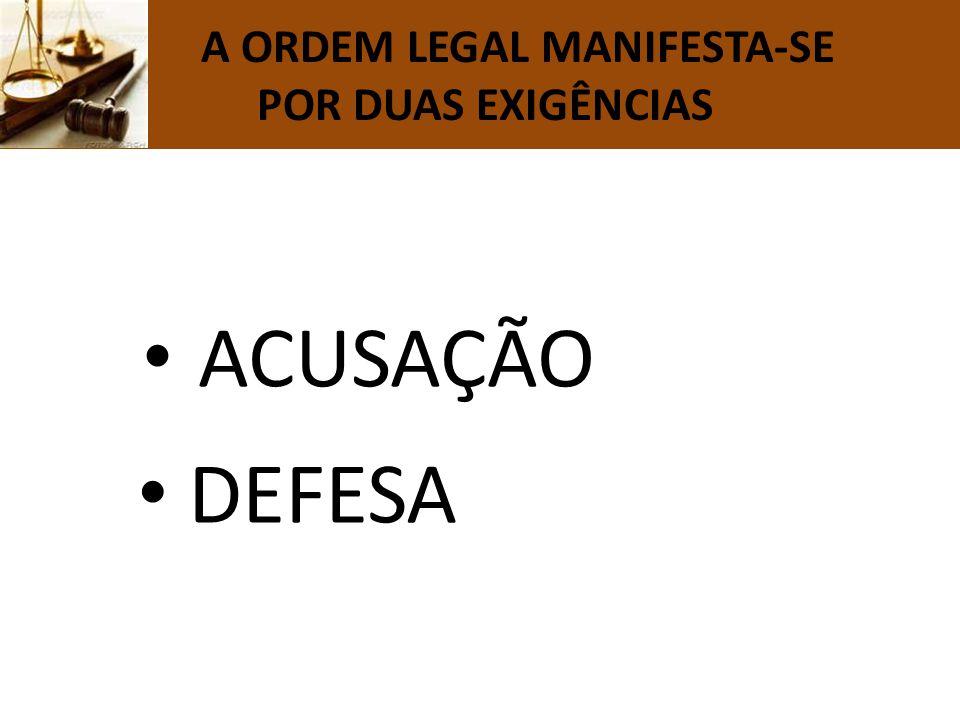 A ORDEM LEGAL MANIFESTA-SE POR DUAS EXIGÊNCIAS