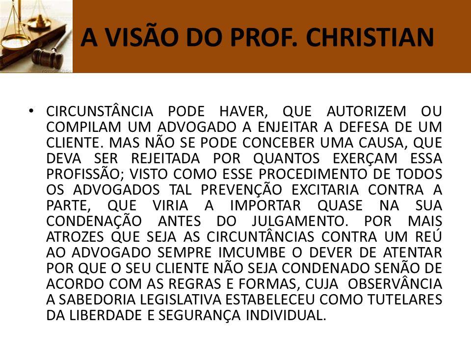 N A VISÃO DO PROF. CHRISTIAN