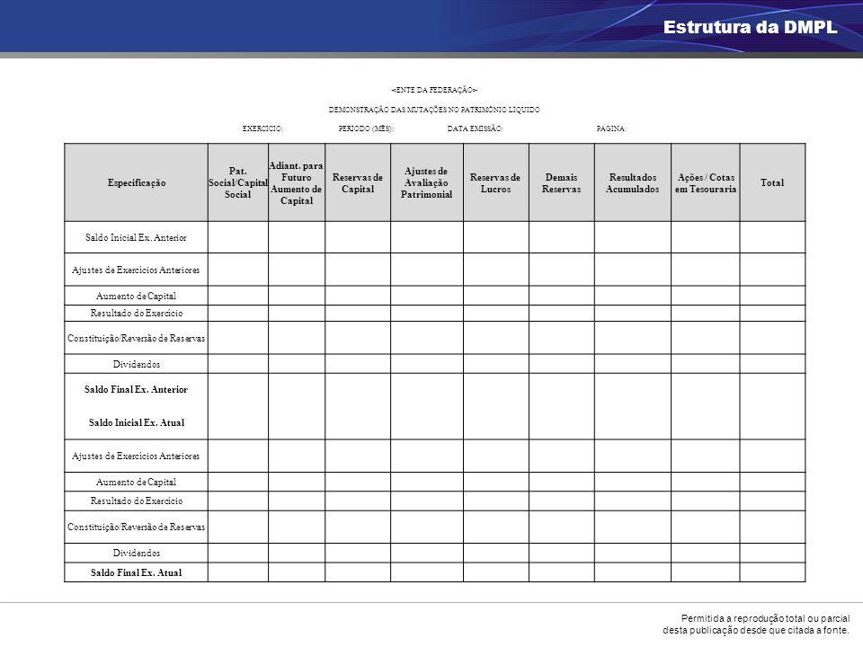 Estrutura da DMPL Especificação Pat. Social/Capital Social
