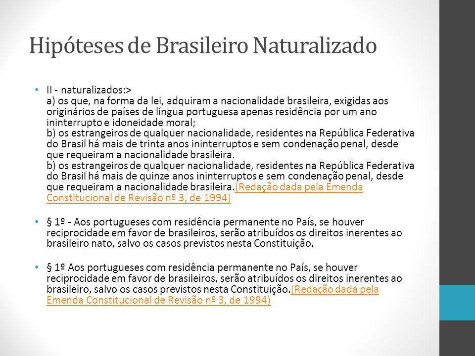 Hipóteses de Brasileiro Naturalizado