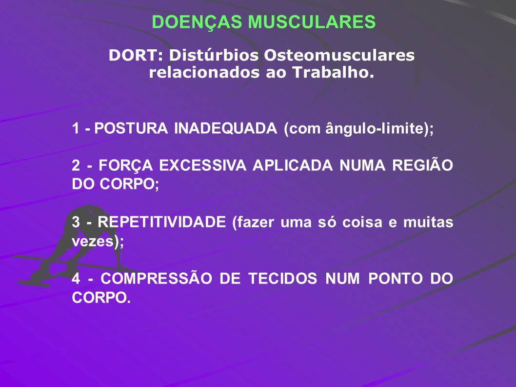 DORT: Distúrbios Osteomusculares relacionados ao Trabalho.