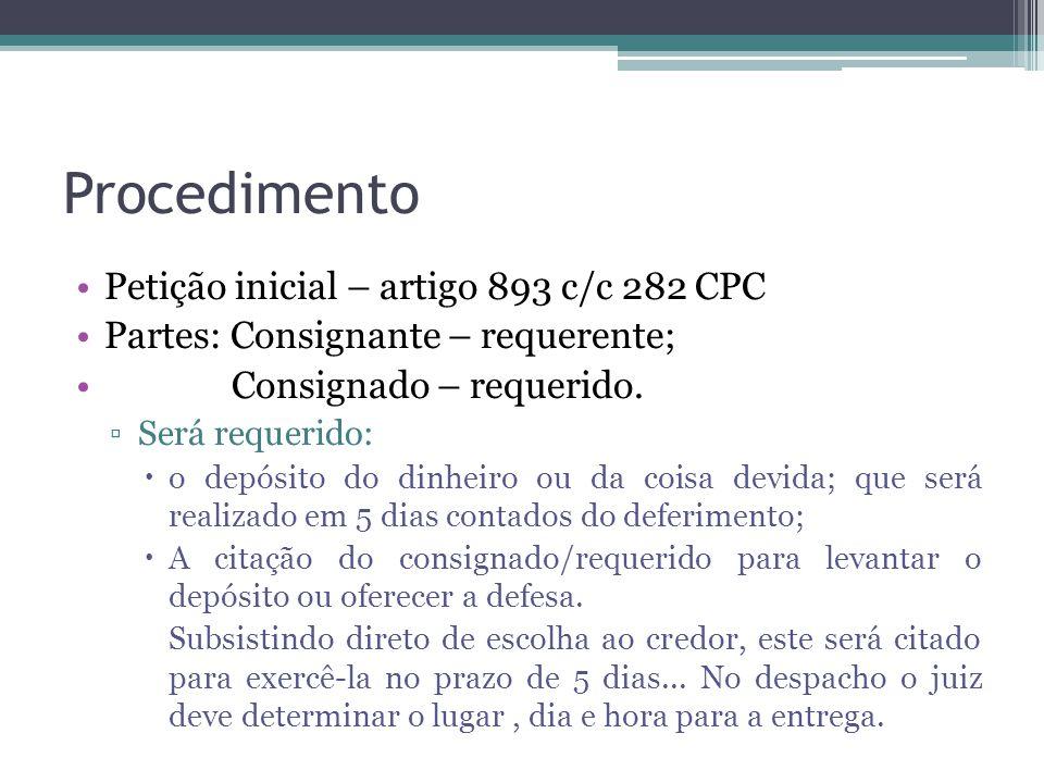 Procedimento Petição inicial – artigo 893 c/c 282 CPC