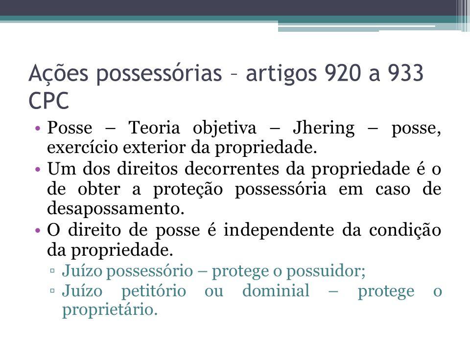 Ações possessórias – artigos 920 a 933 CPC