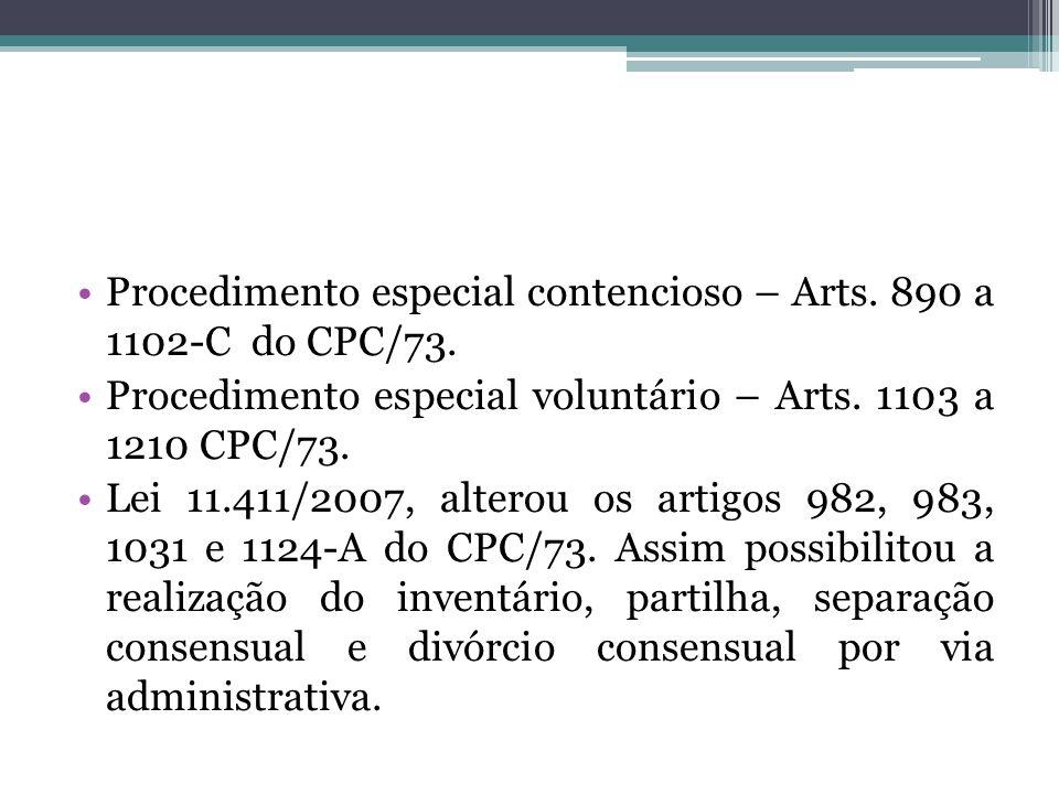 Procedimento especial contencioso – Arts. 890 a 1102-C do CPC/73.