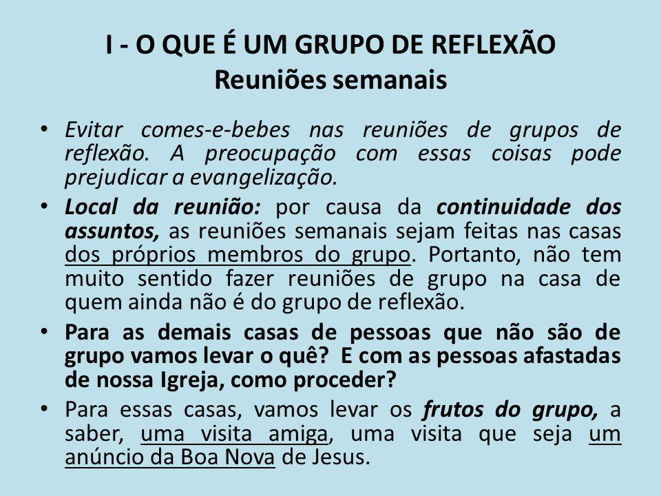 I - O QUE É UM GRUPO DE REFLEXÃO Reuniões semanais
