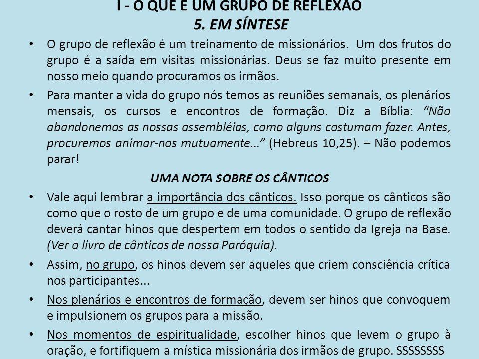 I - O QUE É UM GRUPO DE REFLEXÃO 5. EM SÍNTESE