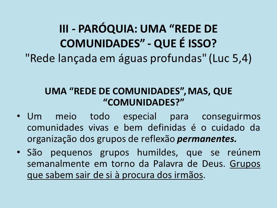UMA REDE DE COMUNIDADES , MAS, QUE COMUNIDADES