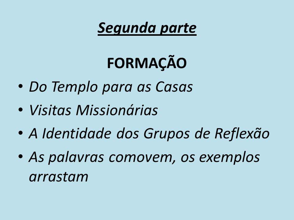 Segunda parte FORMAÇÃO. Do Templo para as Casas. Visitas Missionárias. A Identidade dos Grupos de Reflexão.