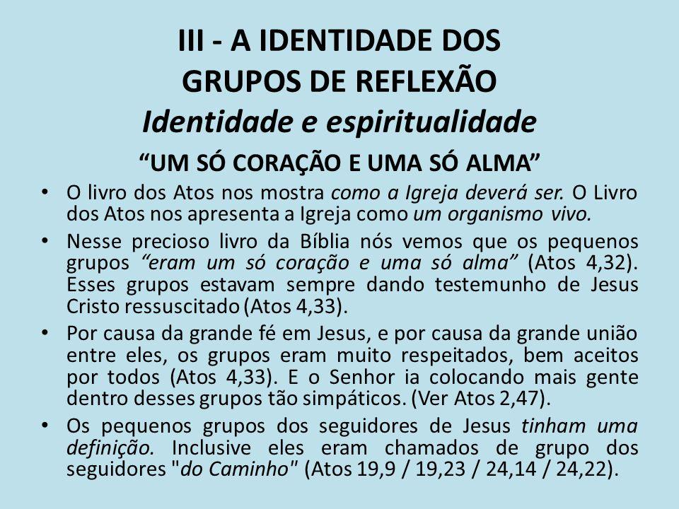 III - A IDENTIDADE DOS GRUPOS DE REFLEXÃO Identidade e espiritualidade